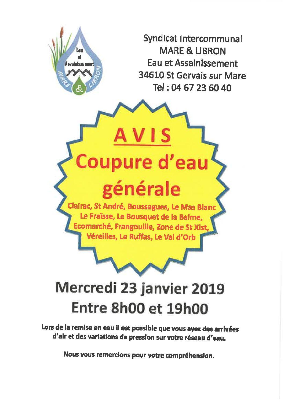 coupure générale d'eau le mercredi 23 janvier 2019 entre 8h00 et 19h00